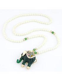 Caspari Dark Green Cute Elephant Pendant Alloy Beaded Necklaces