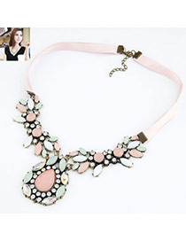 Fashion Green Watershape Shape Diamond Decorated Short Chain Necklace