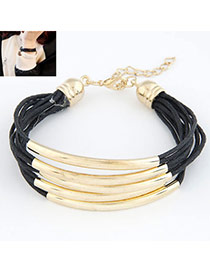 Famale Black Elbow Multilayer Copper Leather Korean Fashion Bracelet