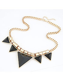 Famale Black Triangle Alloy Resin Bib Necklaces