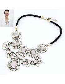 Temperamental Blue Gemstone Decorated Fan Shape Design Alloy Bib Necklaces