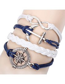 Fashion Lake Blue Leaf&bead Decorated Multi-layer Design Simple Bracelet