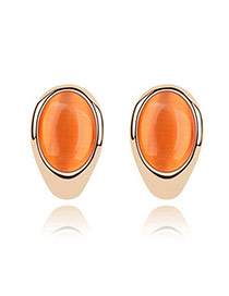 orange ellipse Opal Pearl design alloy Stud Earrings