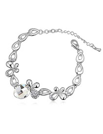 Tanzanite White Butterflies Shape Design Alloy Crystal Bracelets