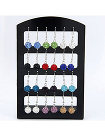 Boutique Silver Color Rhombus Shape Decorated Tassel Design Cuprum Fashion Earrings