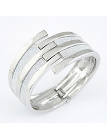 Mysterious Silver Color Matching Line Design Alloy Fashion Bangles
