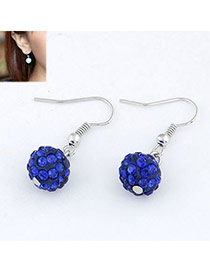 Synthetic Dark Blue Blink Ball Design Alloy Korean Earrings