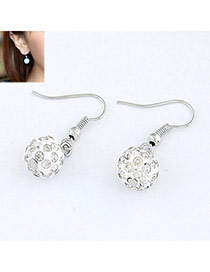Fashion White Gemstone Decorated Simple Design  Alloy Korean Earrings