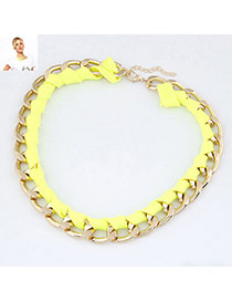 Circle Yellow Fluorescence Weave Design Alloy Chains