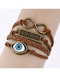 Free Brown Simple Eye Weave Design Alloy Korean Fashion Bracelet