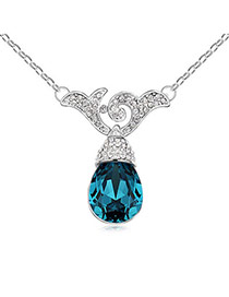 Coral Dark Blue Carve Drop Shape Design Alloy Crystal Necklaces
