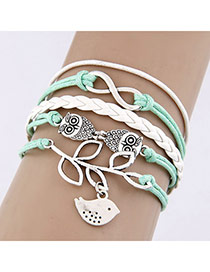 Fashion Silver Color Butterfly Decorated Color Matching Simple Bracelet
