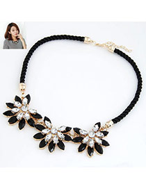 Exaggerated Black Diamond Decorated Pure Color Design
