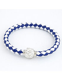 Handcrafte Blue Ball Pendant Weave Design Alloy Korean Fashion Bracelet