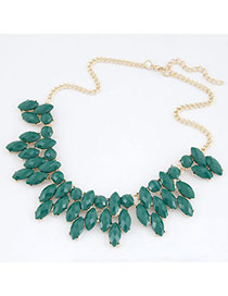 Christmas Dark Green Simple Leaves Design Alloy Korean Necklaces
