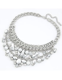 Sling Silver Color Two Layer Pendant Design Alloy Korean Necklaces