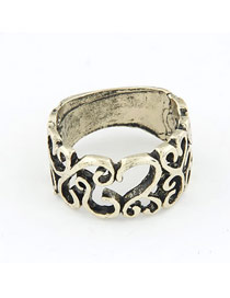Lovely Gold Color Vintage Hollow Out Wisteria Flowers Alloy Korean Rings