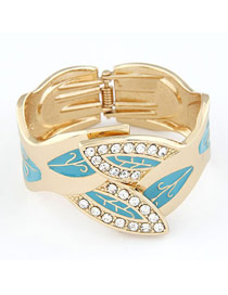 Sling Blue Exquisite Leaf Shape Design Alloy Fashion Bangles