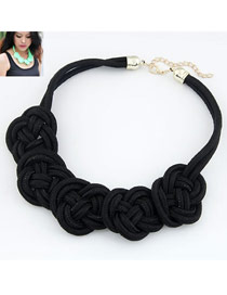 Slim Black Flower Weave Pendant Alloy Korean Necklaces