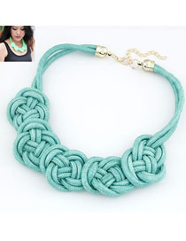 Decorative Blue Flower Weave Pendant Alloy Korean Necklaces