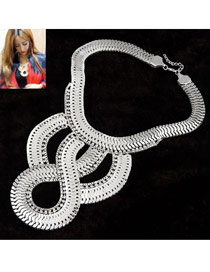 Friendly Silver Color Simple Weave Decorated With Diamond