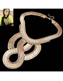 Fashion Green+plum Red Oval Shape Diamond Decorated Hollow Out Collar Necklace