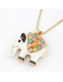 Stylish White Classic Elephant Pendant Alloy Korean Necklaces
