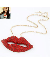 Athletic Red Lip Decorated With Cz Diamond Pendant Alloy Bib Necklaces