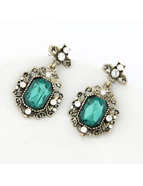 Dickie Gren Vintage Square Shape Pendant Alloy Stud Earrings