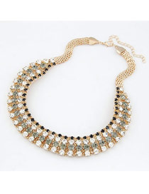Luxury Black Luxury Decorated With Cz Dimaond Alloy Korean Necklaces