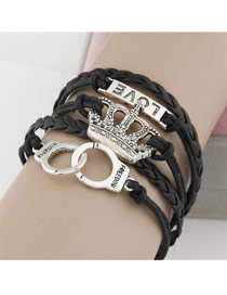 Heavy Black Personality Crown Design Alloy Korean Fashion Bracelet