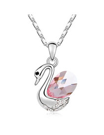 Stylish Plum Red Swan Dance In Water Austrian Crystal Crystal Necklaces