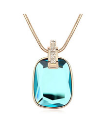 Beaded Acid Blue Happiness Magic Mirror Pendant Glass Crystal Necklaces