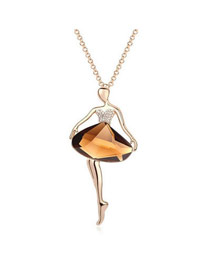 Wonderful Khaki Halfmoon Bend Crystal Crystal Necklaces