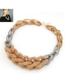 Trendy Gold Color Weave Braided Design Alloy Bib Necklaces