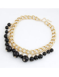 Tapered Black Imitate Pearl Short Design Alloy Chains