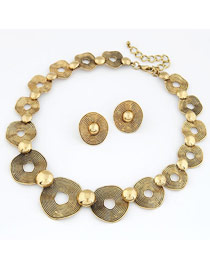 Exaggerate Gold Color Eye Shape Decorated Simple Short Chain Jewelry Sets