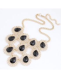 Monogram Black Elegant Gorgeous Hollow Out Drop Shape Alloy Korean Necklaces