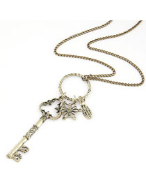 Health Silver Color Vintage Keys Long Style Alloy Bib Necklaces