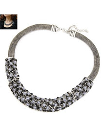 Chunky Antique Silver Elegant Gorgeous Short Style Alloy Fashion Necklaces