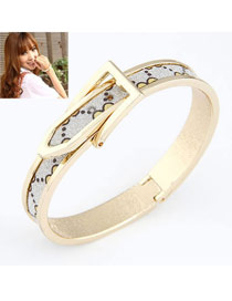 Luxury Silver Color Elegant Exquisite Belt Buckle Alloy Fashion Bangles