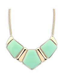 Faddish Light Green Elegant Geometric Square Shape Alloy Korean Necklaces