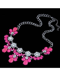 Cool Rose Red Twinkle Matching Elegant Style Alloy Korean Necklaces