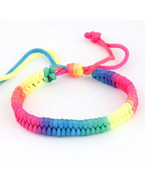 Electric Rainbow Colours Simple Herringbone Weave Handmade Rope Korean Fashion Bracelet