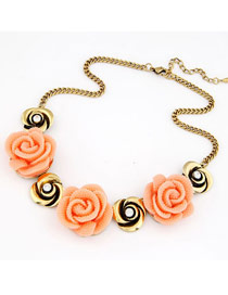 Hydraulic Orange Elegant Rose Design Short Alloy Korean Necklaces