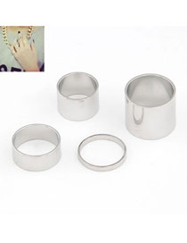 Royal Silver Color Simple Fingernail Style (4pcs)