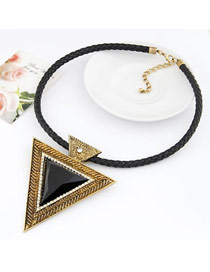 Plus Size Gold Color Vintage Triangle Shape Design Alloy Bib Necklaces