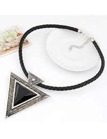 Vintage Multi-color Moon Shape Decorated Hollow Out Design Simple Necklace