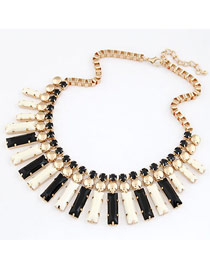 Infinity Black And White Gorgeous Gemstone Elegant Style Alloy Korean Necklaces