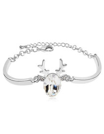 Rent Champagne Heart Shape Decorated Simple Design Alloy Crystal Bracelets